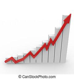 zakelijk, grafiek, met, het uitgaan, rode pijl