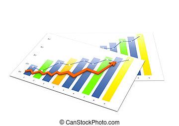 zakelijk, grafiek, met, rapport