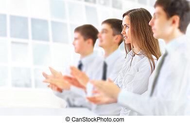 zakelijk, groep, applauding