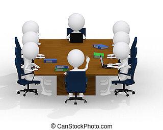 zakelijk, groep, vergadering, verticaal, -, acht, zakenlui, werkende , samen., een, anders, werken, group.