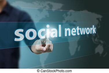 zakelijk, hand, beroeren, sociaal, netwerk