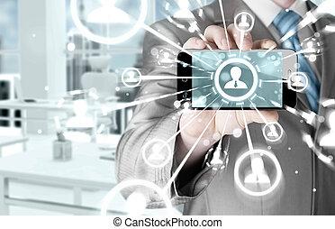 zakelijk, hand houdend, een, telefoon, tonen, de, sociaal, netwerk