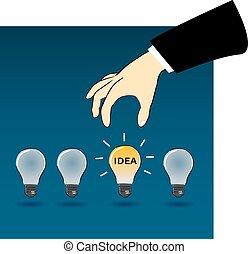 zakelijk, hand, kiezen, idee, licht, bul