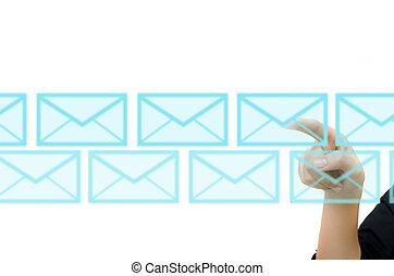 zakelijk, hand, voortvarend, post, voor, sociaal, netwerk, op, een, aanraakscherm, interface.