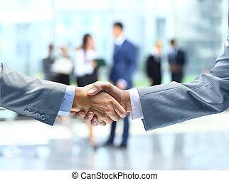 zakelijk, handdruk, en, zakenlui