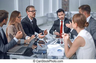 zakelijk, het bespreken, issues., team, belangrijk