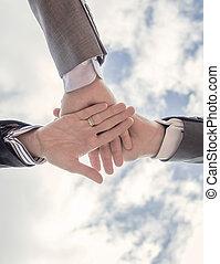 zakelijk, het tonen, team, samen, eenheid, handen