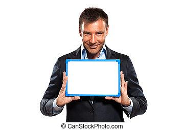 zakelijk, het tonen, whiteboard, een, vasthouden, man