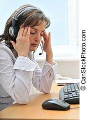 zakelijk, hoofdpijn, moe, persoon, werken