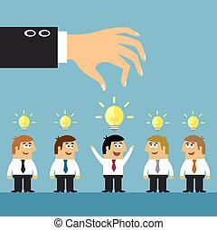 zakelijk, ideeën, selectie, concept