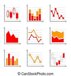 zakelijk, infographic, kleurrijke, diagrammen, en, diagrammen, set, 1