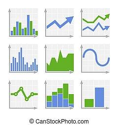zakelijk, infographic, kleurrijke, diagrammen, en, diagrams., blauwe , ang, groene, set