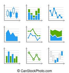 zakelijk, infographic, kleurrijke, diagrammen, en, diagrams.blue, ang, groene, set, 2