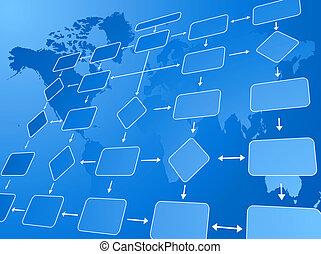 zakelijk, informatiestroomschema, blauwe