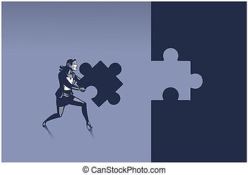 zakelijk, informatietechnologie, correct, verdragend, gereed, raadsel, plek, concept, illustratie, jigsaw, vrouw, stuk