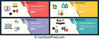 zakelijk, internet, set, communicatie, financiën, icons., spandoek