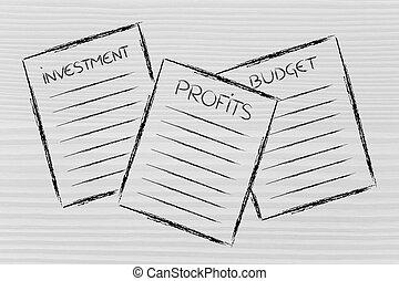 zakelijk, investering, begroting, documents:, winsten