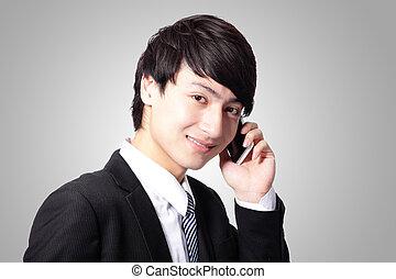 zakelijk, jonge, mobiele telefoon, gebruik, man, mooi