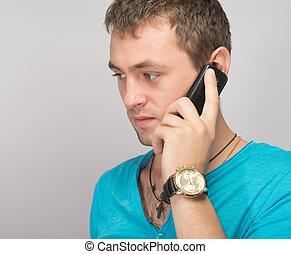 zakelijk, jonge, telefoongesprek, vervaardiging, man, mooi