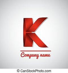 zakelijk, k, papier, brief, logo, pictogram