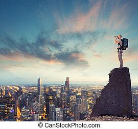 zakelijk, kansen, het kijken, toekomst, zakenman, nieuw