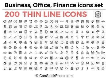 zakelijk, kantoor, financiën, thema, iconen, set