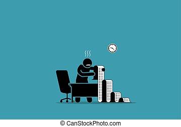 zakelijk, kantoor., lijst, lang, persoon, papier, vasthouden