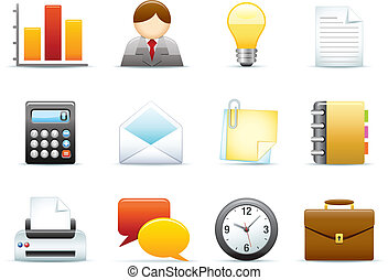 zakelijk, /, kantoor, pictogram, set