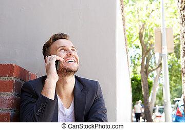 zakelijk, klesten, beweeglijk, jonge, telefoon, buiten, man, vrolijke