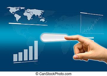 zakelijk, knoop het duwen, hand, beroeren, interface, scherm