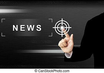 zakelijk, knoop het duwen, hand, beroeren, nieuws, scherm