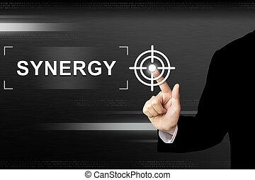 zakelijk, knoop het duwen, hand, synergy, aanraakscherm