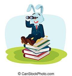 zakelijk, konijn, op, stapel, van, boek