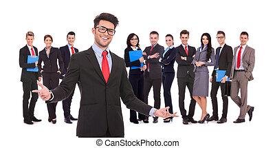 zakelijk, leider, succesvolle , team, zijn, verwelkoming