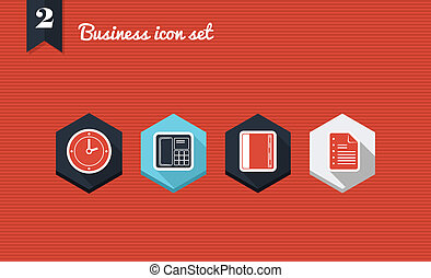 zakelijk, management, plat, iconen