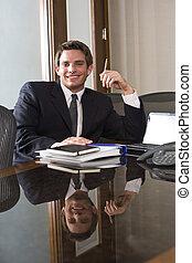 zakelijk, mannelijke nakomeling, raadzaal, uitvoerend