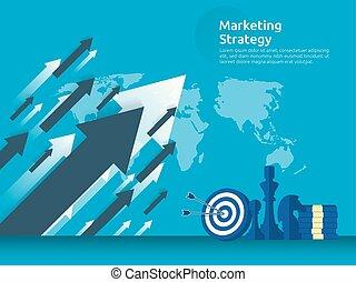 zakelijk, marketing, strategie, spreadsheet, op, screen., financiën, analyse, controle, met, grafieken, charts., rendement van investering, roi, concept., verhogen, winst, stretching, opstand, boven., spandoek, mal, illustratie