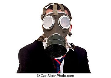 zakelijk, masker, op, gas, w, man
