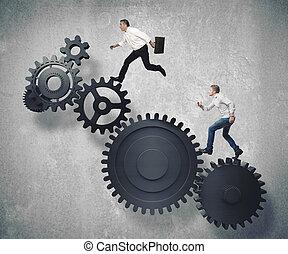 zakelijk, mechanisme, systeem