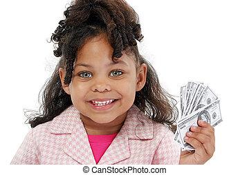 zakelijk, meisje, geld