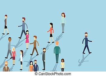 zakelijk, mensenmassa, verhuizen, individu, blijven aandringen op, man