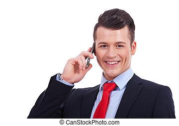 zakelijk, mobiele telefoon, gebruik, man, mooi