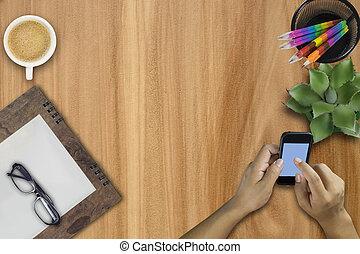 zakelijk, mobiele telefoon, gebruik, smart, man