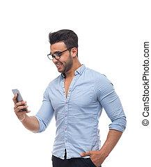 zakelijk, mobiele telefoon, gebruik, zakenman, man, smart, mooi