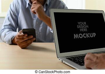 zakelijk, mockup, tekst, draagbare computer, reclame, scherm, gebruik, boodschap, jouw, man