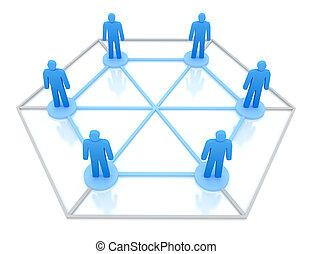 zakelijk, netwerk, concept., vrijstaand