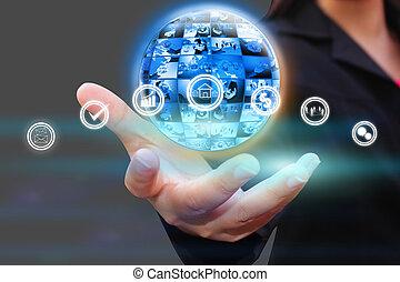 zakelijk, netwerk, sociaal, concept., wereld