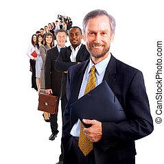 zakelijk, op, achtergrond, vrijstaand, man, team, zijn, ...