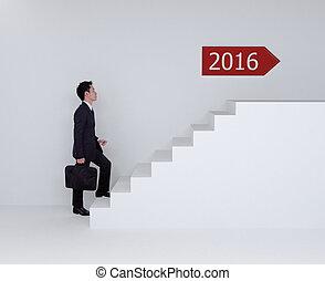 zakelijk, op, het schrijden, 2016, trap, man