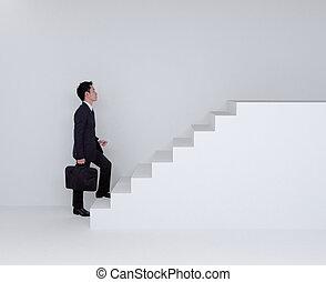 zakelijk, op, man, het schrijden, trap